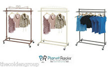 Planet Racks Boutique Clothing Store Double Bar Rolling Salesman Garment Display