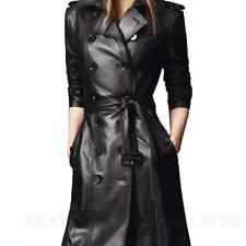 Lady Classic Long sleeved Belted jacket Buckled Womens Leather Trench Coat size