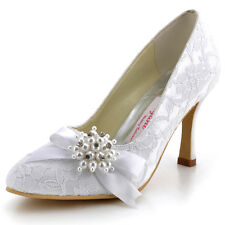 AJ001 Ivory Pointy Toe Lace Pearl Ribbon High Heel Wedding Bridal Court Shoes