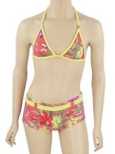 O'Neill Bikini Tropical Shorty pink yellow Halter neck flowers new