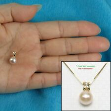"""14k Solid Yellow Gold Diamond Bail 7.5mm White Cultured Pearl Pendant 0.5"""" TPJ"""