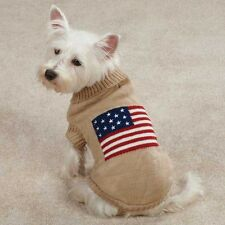 Zack & Zoey Americana American Flag Knitted Classic Dog Sweater Camel