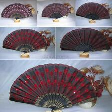 Folding Folded Sequins Hand Fan Wedding Party Decor Fan Embroidered Peacock Tail