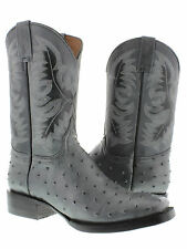 mens gray ostrich quill exotic crocodile western leather cowboy rodeo boots