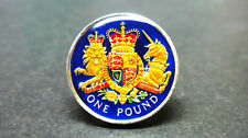 Enameled coin 2015 UK Great British  one pound Royal coat of arms