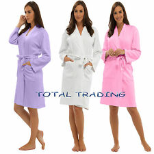 LADIES WAFFLE 100% COTTON SUMMER DRESSING GOWN ROBE
