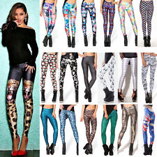 2016 Womens Punk 3D Print Leggings Stretchy Jeggings Pencil Tight Pants Trousers