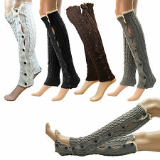 US Women Ladies Winter Leg Warmers Button Crochet Knit Boot Socks Toppers Cuffs