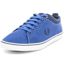 Fred Perry Hallam Twill Mens Trainers Canvas Royal Blue New Shoes