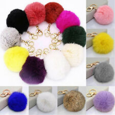Soft Cute Rabbit Fur Ball PomPom Cell Phone Car Pendant Handbag Key Chain Ring T