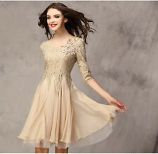 Spring Autumn Trendy Womens Chiffon Stitching Lace Nail bead Hollow Out Dress