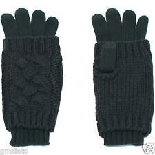 NEW Faded Glory Women's Cable Knit Layered 2-in-1 Gloves Black
