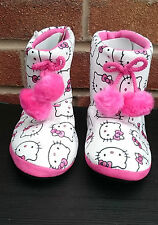 Girls Hello Kitty Slipper Boots With Pom Poms New With Tags Free UK P&P