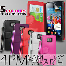 LEATHER WALLET CASE COVER,SCREEN GUARD & STYLUS PEN FOR SAMSUNG i9100 GALAXY S 2