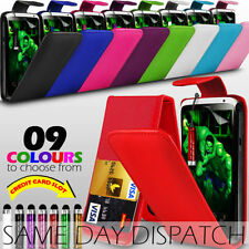 LEATHER FLIP CASE COVER WITH CARD SLOT,FILM & MINI STYLUS PEN FOR HTC ONE X