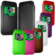 PREMIUM CARD SLOT PU LEATHER PULL FLIP TAB CASE COVER POUCH FOR LG PHONES