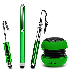 Green 3.5mm Rechargeable Mini Capsule Speaker & Stylus Pack For Various Phones