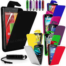 Premium PU Leather Flip Case Cover Pouch, Film & Mini Pen For Various Handsets