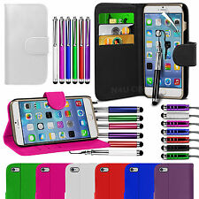Stand Wallet Flip Case Cover, LCD Film & 3 Pen Set For Apple Iphone 6