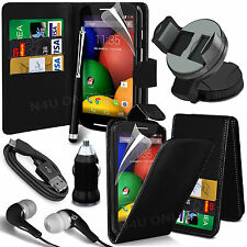 8 in 1 Bundle Kit Accessory Leather Case Car Holder Charger For Motorola Moto E