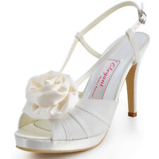 EP11126 Satin Peep Toe Flower Platform Slingback High Heel Sandals Bridal Shoes