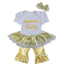 Baby Gold Sparkle Baby White Sequin Bodysuit Tutu and Metallic Gold Pants