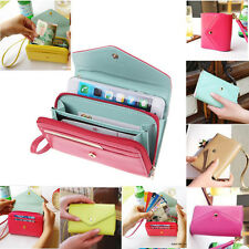 Leather Wallet Case Purse Pouch w Wristlet Clutch For Samsung & iPhone 6 5 5S 4S