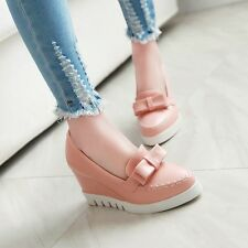 Women's Wedge Heels Loafers Bowknot Pumps High Heels Platform Solid Color Shoes