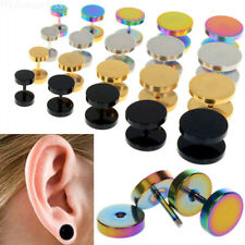 2Pcs of Cheater faux fake Ear Plugs Gauges Tapers Gold Black Stainless Steel WEB