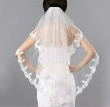New 2T White/Ivory Fingertip Bridal Wedding Veil Lace Applique Edge with Comb