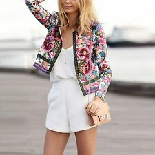 New Fashion Women's Floral Slim Casual Summer Blazer Suit Jacket Coat Outerwear