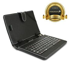 """Durable Portable Leather USB QWERTY Keyboard Case Stand + Stylus for 7"""" Tablet"""