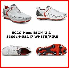 New Ecco Mens Golf Shoes BIOM G2 White Fire Spike EU 39 40 41 42 43 44 45 46