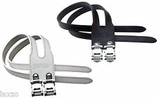 Cinelli Duo - Double Toe Straps Leather / Pair In Black & White Road Racing Bike