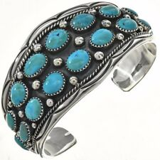 Navajo Sleeping Beauty Turquoise Nuggets Sterling Bracelet Mens Cuff s7-8.5