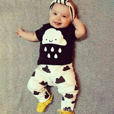 Toddler Infant Baby Boys Girls Kids Casual T-shirt Tops Long Pants Outfit Sets