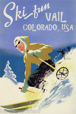 GIRL DOWNHILL SKIING SKI FUN VAIL COLORADO AMERICAN SPORT VINTAGE POSTER REPRO