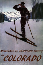 DOWNHILL MOUNTAIN SKIING SKI COLORADO AMERICAN WINTER SPORT VINTAGE POSTER REPRO