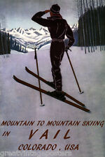 DOWNHILL MOUNTAIN SKIING SKI VAIL COLORADO AMERICAN SPORT VINTAGE POSTER REPRO