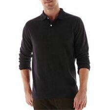 Mens St. John's Bay Black Sueded Polo Shirt Size S New With Tags MSRP $30.00