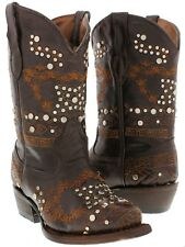 kids girls youth brown studded leather western cowboy cowgirl rodeo boots