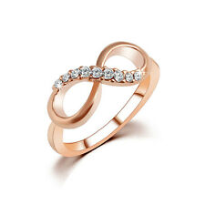 """1Pcs Fashion Women Simple """"8"""" Zircon Crystal Rose Gold Ring Jewelry Size 6/7/8/9"""