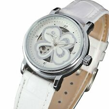 FORSINING Lady Girl Leather Band Four-Leaf Clover Auto Mechanical Wrist Watch