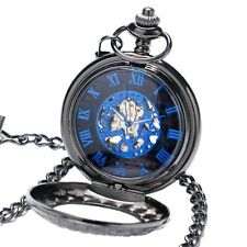 Retro Black Steampunk Hand Wind Mechanical Pocket Watch Chain Pendant Necklace