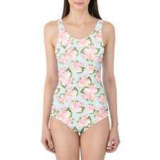 Pink Roses on Blue Polka Dots Women's Swimsuit XS-3XL One Piece with Removable P