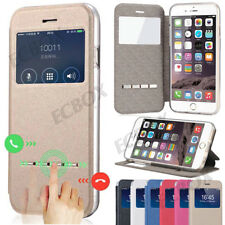 Flip Folio Smart S-View Window Leather Case Cover For iPhone 4S 5S SE 6 6S Plus