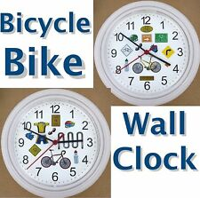 BICYCLE WALL CLOCK Bike Bicyclist SHARE THE ROAD Helmet Wheels Rack Brakes NEW