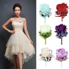 Rose Corsage Silk Flowers Wedding Bride Groom Tuxedo Boutonniere Prom Party