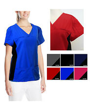 NWT Medical Nursing Scrub Top Solid Fashion Soft(Mock Wrap/Side Panel) PLUS 6514