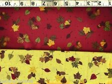Quilting Treasures ~ Thanksgiving Leaves Acorns ~ 100% Cotton Quilt Fabric BTY